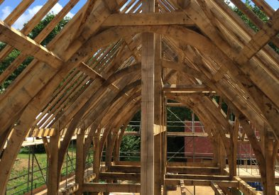 Westwind raising an Oak Frame in Surrey